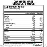 Carnivor Mass MuscleMeds Chocolate Fudge facts