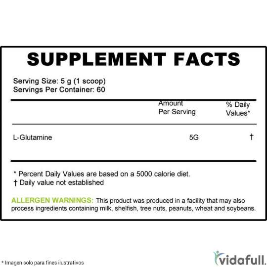 Glutamina Musclepharm información nutrimental