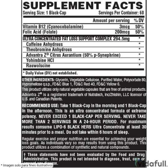 Lipo 6 Black Hers Ultra Concentrate Nutrex facts