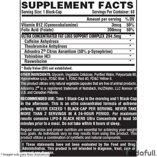 Lipo 6 Black Hers Ultra Concentrate Nutrex información nutrimental