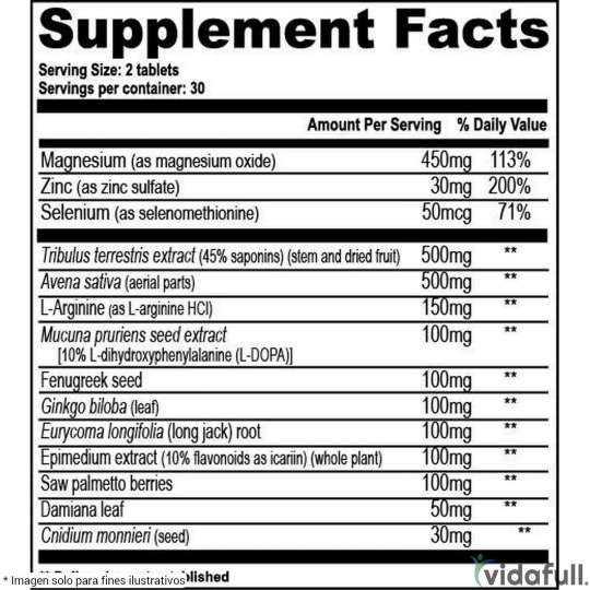 Testrol GAT información nutrimental