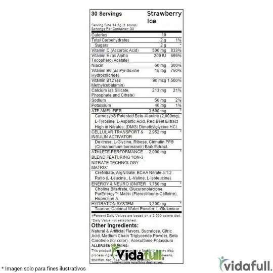 Assault MusclePharm información nutrimental