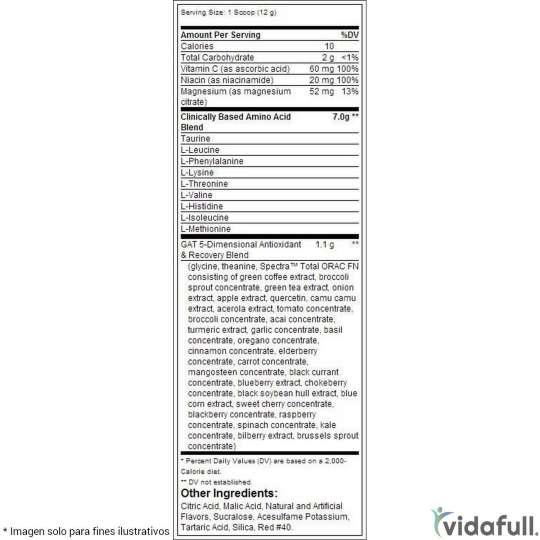 Muscle Martini GAT información nutrimental