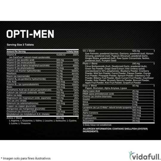 Opti Men ON información nutrimental