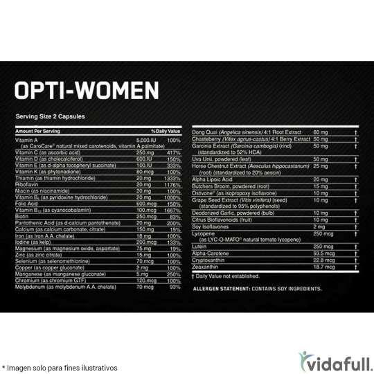 Opti Women ON información nutrimental