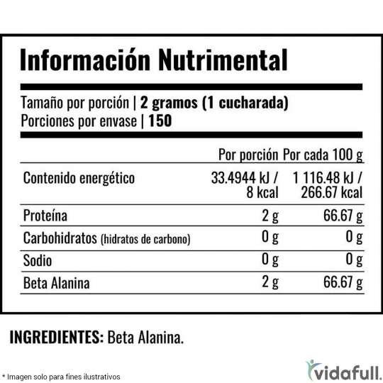 B-ALANINA Primetech información nutrimental