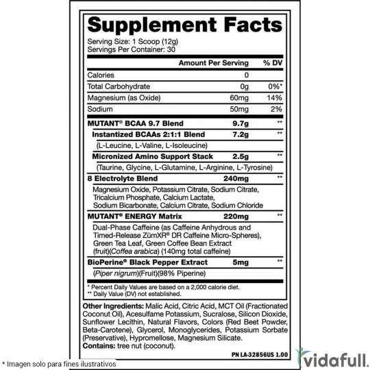 BCAA 9.7 Energy Mutant Durazno facts