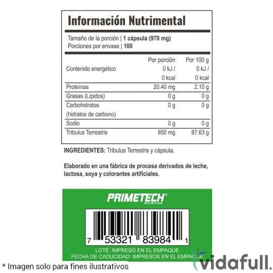 TRIBULUS Terrestris Primetech información nutrimental
